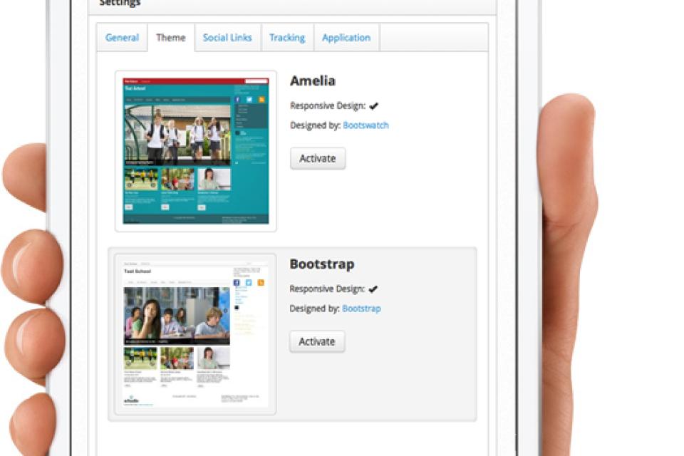 Schudio CMS settings page on ipad minii